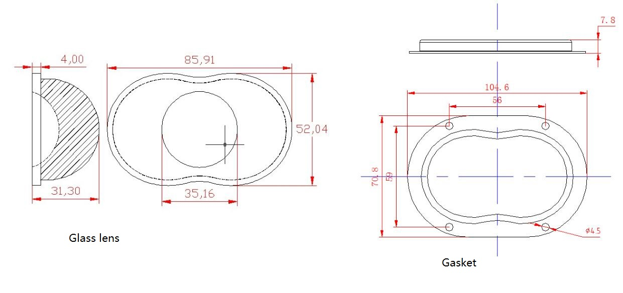 ags86d14060gs - glass lens for street light